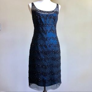 Sapphire/Black Lame Beaded Lace Cocktail Dress 8